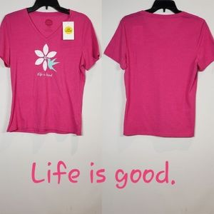 Life Is Good Humming Bird Flower Vee T-Shirt Small